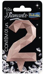 Vela Numeral Diamante -Rose Gold - 2