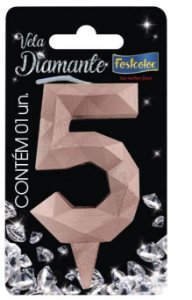 Vela Numeral Diamante -Rose Gold - Número 5