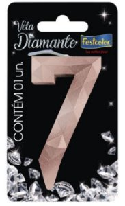 Vela Numeral Diamante -Rose Gold - Número 7