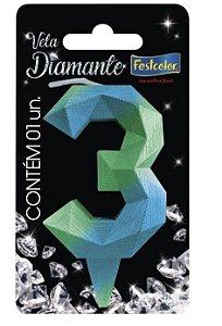 Vela Numeral Diamante - Azul/verde - número 3