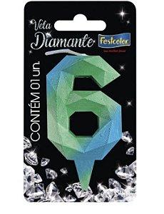 Vela Numeral Diamante - Azul/verde - número 6