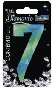 Vela Numeral Diamante - Azul/verde - número 7