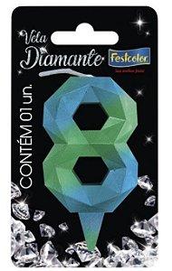 Vela Numeral Diamante - Azul/verde - número 8
