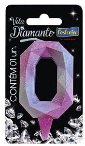 vela Numeral Diamante -Rosa / Prateada - Número 0