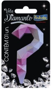 Vela Numeral Diamante -Rosa / Prateada - interrogação