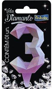 Vela Numeral Diamante -Rosa / Prateada - Número 3