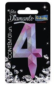 Vela Numeral Diamante -Rosa / Prateada - Número 4