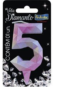 Vela Numeral Diamante -Rosa / Prateada - Número 5