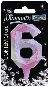 Vela Numeral Diamante -Rosa / Prateada - Número 6