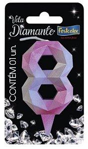 Vela Numeral Diamante -Rosa / Prateada - Número 8