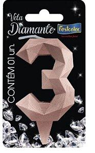 Vela Numeral Diamante -Rose Gold - Número 3