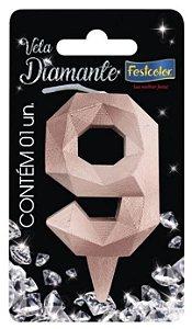 Vela Numeral Diamante -Rose Gold - Número 9