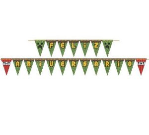 Faixa Decorativa de Feliz Aniversário do Mini Pixels 2,46m