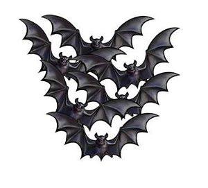 Enfeites de Halloween Morcego 06 unidades