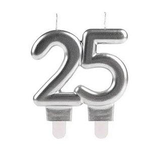 Vela De Aniversário 25 Anos Prata - Silver Festas