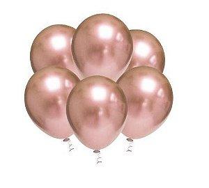 Balão Látex - 5 Polegadas - rose gold platino - 25 unidades