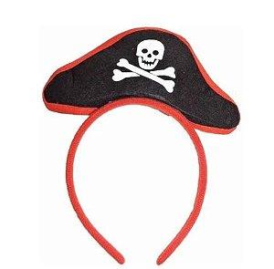 Tiara Acessório De Carnaval Com Mini Chapéu Pirata