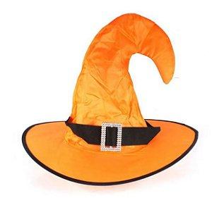 Chapéu de Bruxa Laranja Ponta Virada - Halloween
