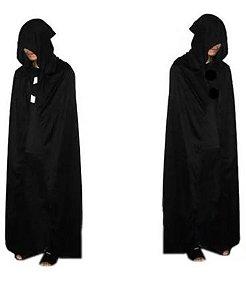 Túnica capuz preto halloween - vampiro - preto capa