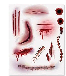 Tatuagem Noite Do Terror Machucados -1 cartela