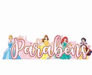 Decoração para Festa Enfeite Impresso Parabéns Princesas em EVA Piffer