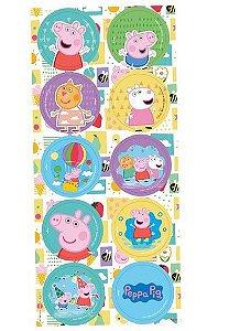 Adesivo Redondo Decorativo Festa Peppa Pig Clássica - 30 unidades