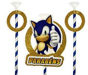 Topo de bolo Sonic glitter