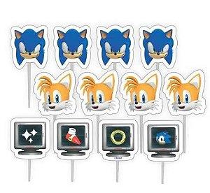 Palitos Decorativos Impressos para Docinhos Festa Sonic em EVA Piffer