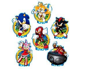 Kit Enfeite Impresso para Festa Decoração Sonic em EVA Piffer