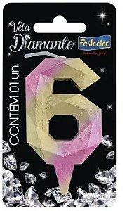 Vela Numeral Diamante - Rosa/ Dourado  - número 6
