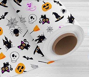 TNT Estampado Happy  Halloween Branco- 1 Metro