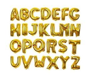 Balão Metalizado Letra Alfabeto 40cm Dourado