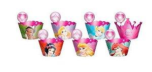 Saia de cupcake princesas Wrapper - 12 unidades