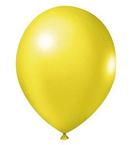 Balão Látex 8 Polegadas - Amarelo - 50 unidades