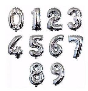 Balão Metalizado Prata - 100 cm - Números