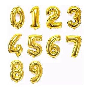Balão Metalizado 100 cm - Dourado - Número