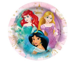 Prato Papel 18cm Princesas Disney 12 Un.
