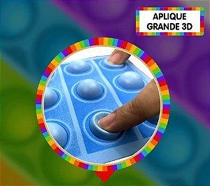Aplique grande pop it 3D - Azul