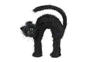 Enfeite gato preto arrepiado - Halloween e Dia das bruxas