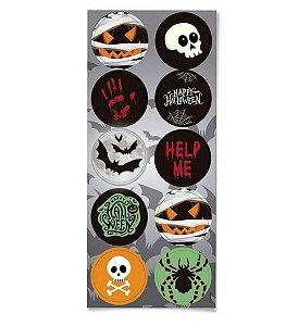 Adesivo Redondo Noite do Terror Halloween 30 Unidades - Cromus