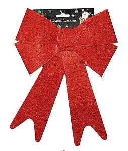 Enfeite de Natal Laço 29x22CM Vermelho com Glitter