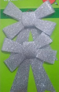 Enfeite Natal Kit Laço Prata C/ Glitter
