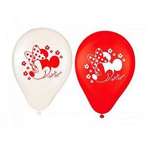 Balão Látex 9 polegadas - Minnie Vermelha - 25 unidades