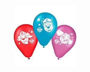 Balão Látex 9 Polegadas - Patrulha Canina - 25 unidades