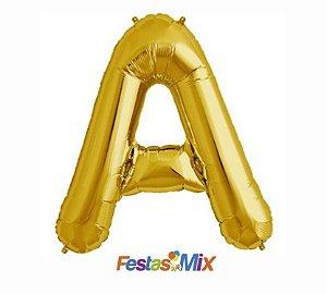 Balão Metalizado 40 cm - Dourado - Letra A