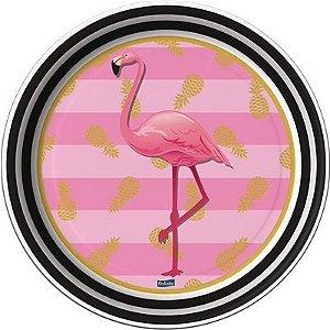 Prato de Papel - Flamingo - 08 unidades
