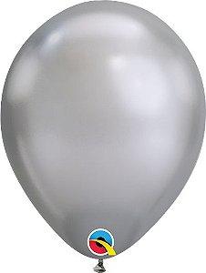 Balão Látex 11 Polegadas - Prata Cromado - 05 unidades