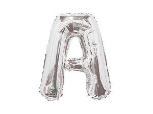 Balão Metalizado 35 cm - Prateado - Letra A