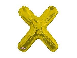 Balão Metalizado 27 cm - Dourado - Letra X