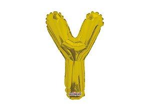 Balão Metalizado 27 cm - Dourado - Letra Y